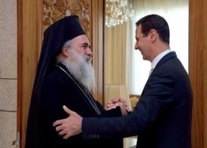 Sua Santità Hanna Atallah Hanna, Arcivescovo di Sebastia del Patriarcato greco-ortodosso di Gerusalemme con il Presidente Assad